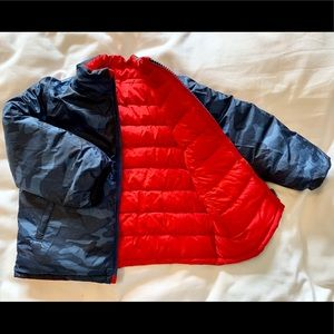 Down Winter Coat- blue camo/ red reversible!
